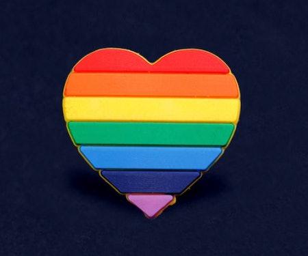 Silicone Rainbow Heart Pin