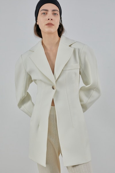 Single Breasted Long Blazer Jacket