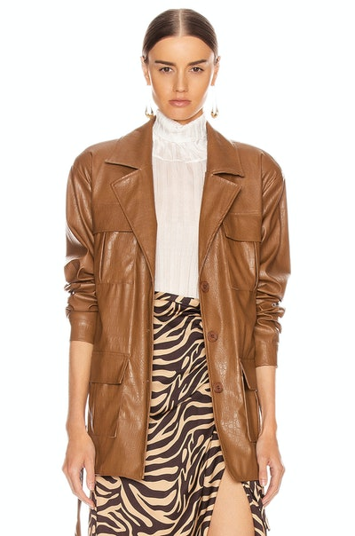 Andamane Carine Faux Leather Croco Print Jacet