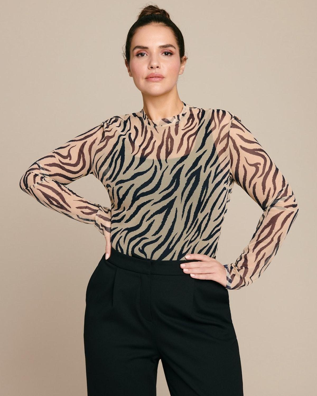 Zebra Printed Mesh Long Sleeve Top