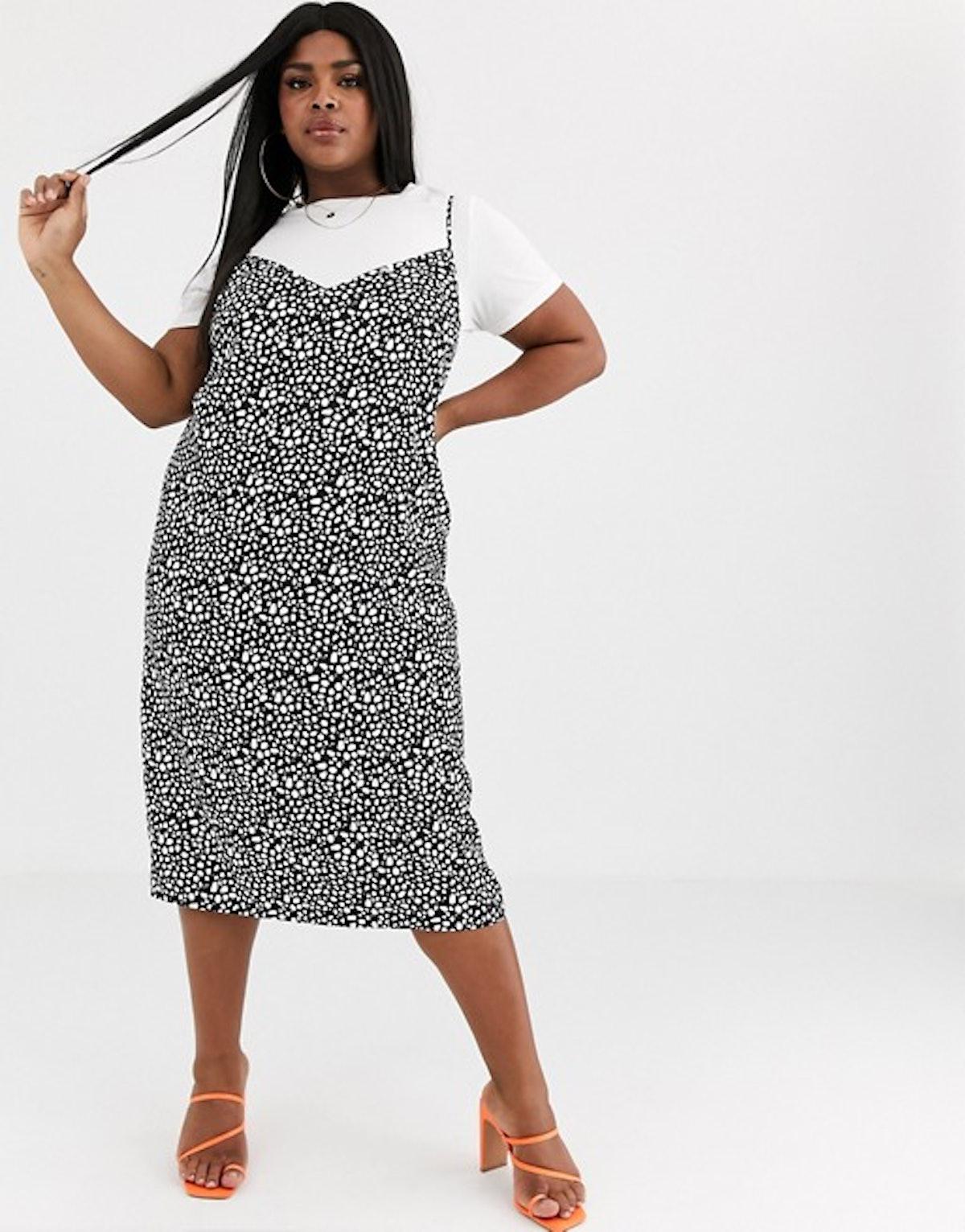 Curve Midi Cami Slip Dress In Polka Dot