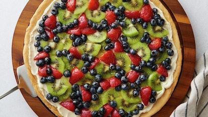 Pillsbury's fruit pizza recipe uses premade sugar cookie dough.