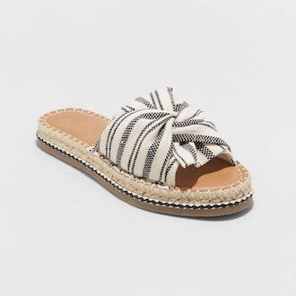 Lila Knotted Espadrille Slide Sandals