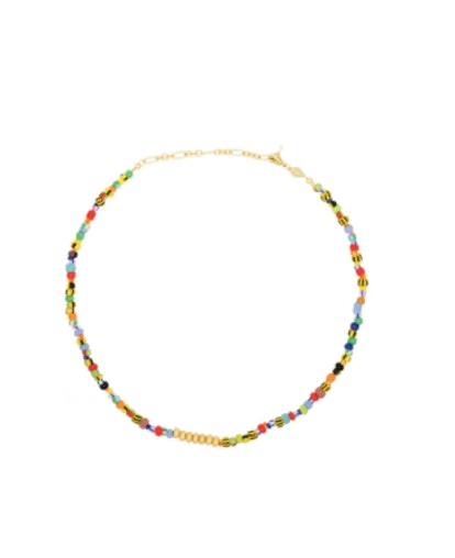 18kt Gold-plated Alaia Beaded Necklace