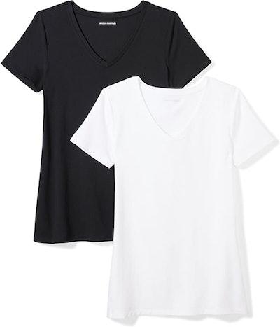 Amazon Essentials Women's Classic-Fit Short-Sleeve V-Neck T-Shirt (2-Pack)