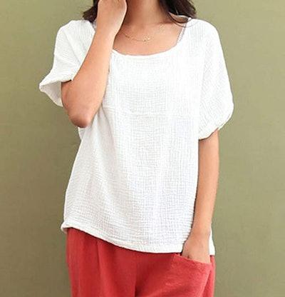 Soojun Cotton Linen Round Collar Blouse