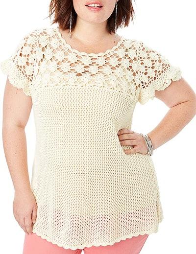 Roamans Plus Size Floral Crochet Sweater