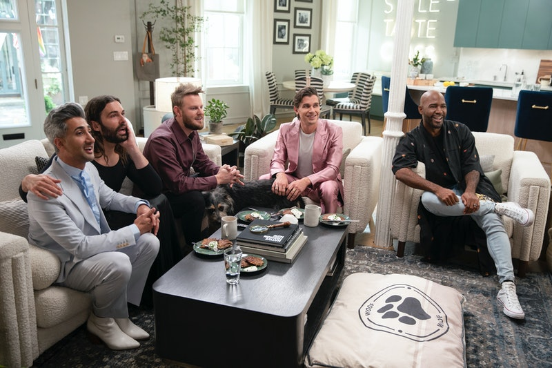 Walter the dog hangs out with the Fab Five in Queer Eye Season 5.