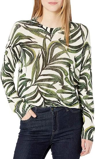 Show Me Your Mumu Peruvian Palm Cropped Varsity Sweater