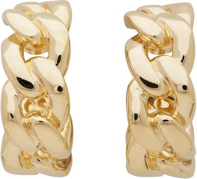 Gold Chain Half Hoop Earrings