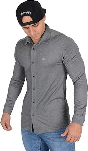 YoungLA Men's Slim-Fit Dress Shirt