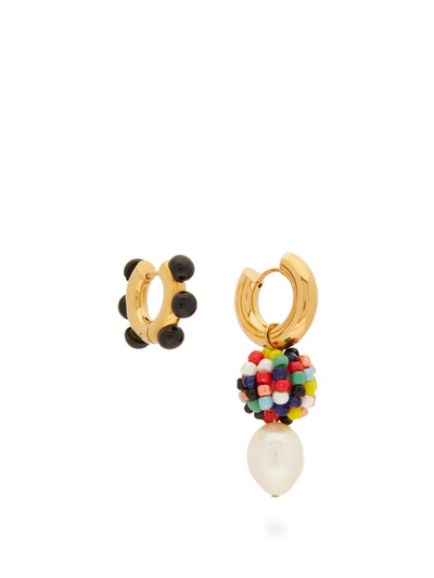 Mismatched Pearl & Gold Plated Hoop Earrings