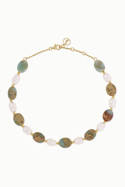 Gold Plated Serpentine and Pearl Anklet