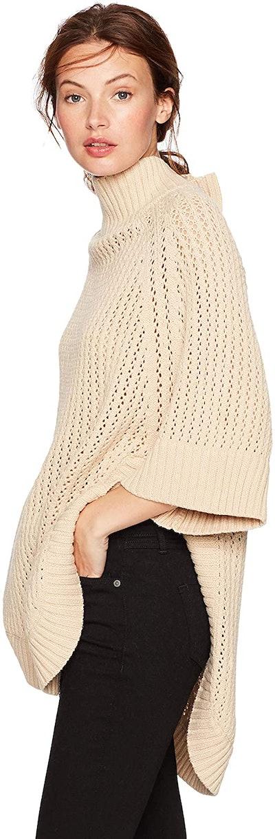 Cable Stitch Rib Collar Tunic Sweater