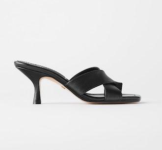 Cross Strap Heeled Leather Slides