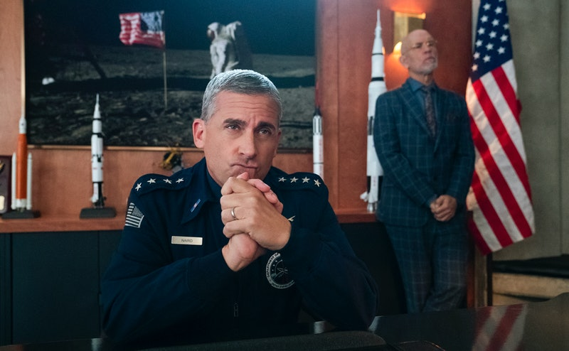 STEVE CARELL as GENERAL NAIRD and JOHN MALKOVICH as DR. ADRIAN MALLORY in SPACE FORCE Season 1