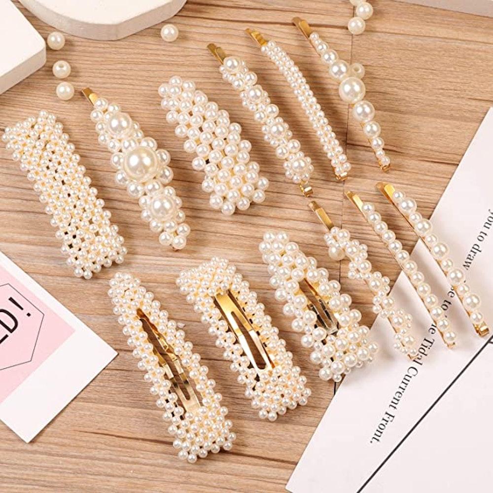 E-accexpert Pearl Hair Clips (12 Piece)