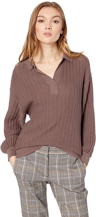 Cable Stitch Textured Polo Sweater