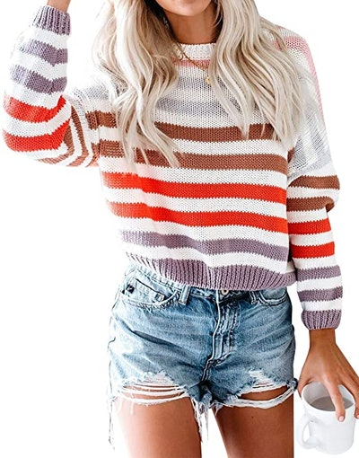ZESICA Striped Crew Neck Knitted Pullover