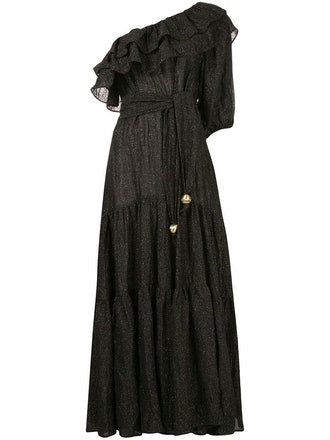 Metallic Gauze Maxi Dress
