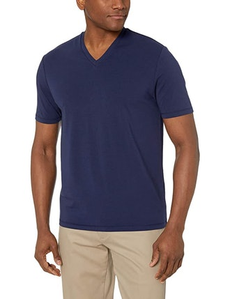 BUTTONED DOWN Men's Short-Sleeve V-Neck Supima Cotton Stretch T-Shirt