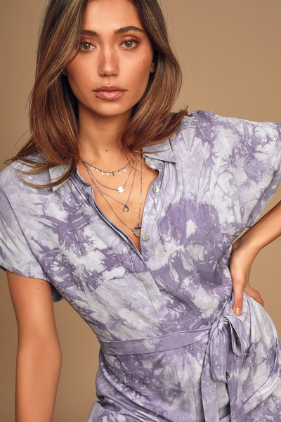 Lulu's Carefree Lifestyle Purple Tie-Dye Shirt Dress
