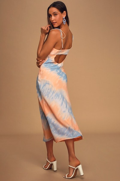 Lulu's Sweet Sunsets Blue and Orange Tie-Dye Tie-Strap Midi Slip Dress