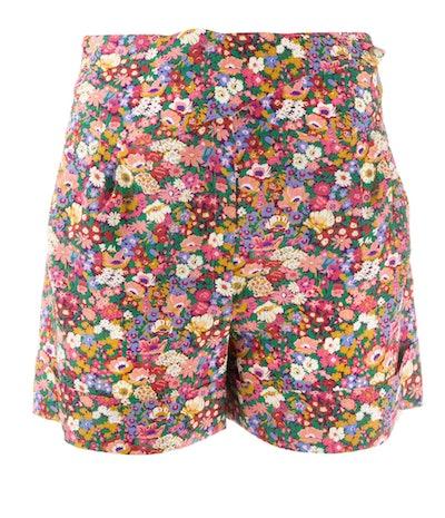Floral Print Silk Shorts