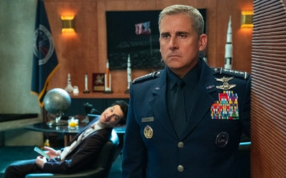 Ben Schwartz as F. Tony and Steve Carell as General Naird in 'Space Force' Season 1