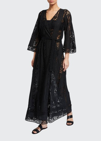 Lucinda Embroidered Lace Belted Coverup