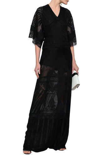 Lace-Trimmed Pointelle-Knit Maxi Dress