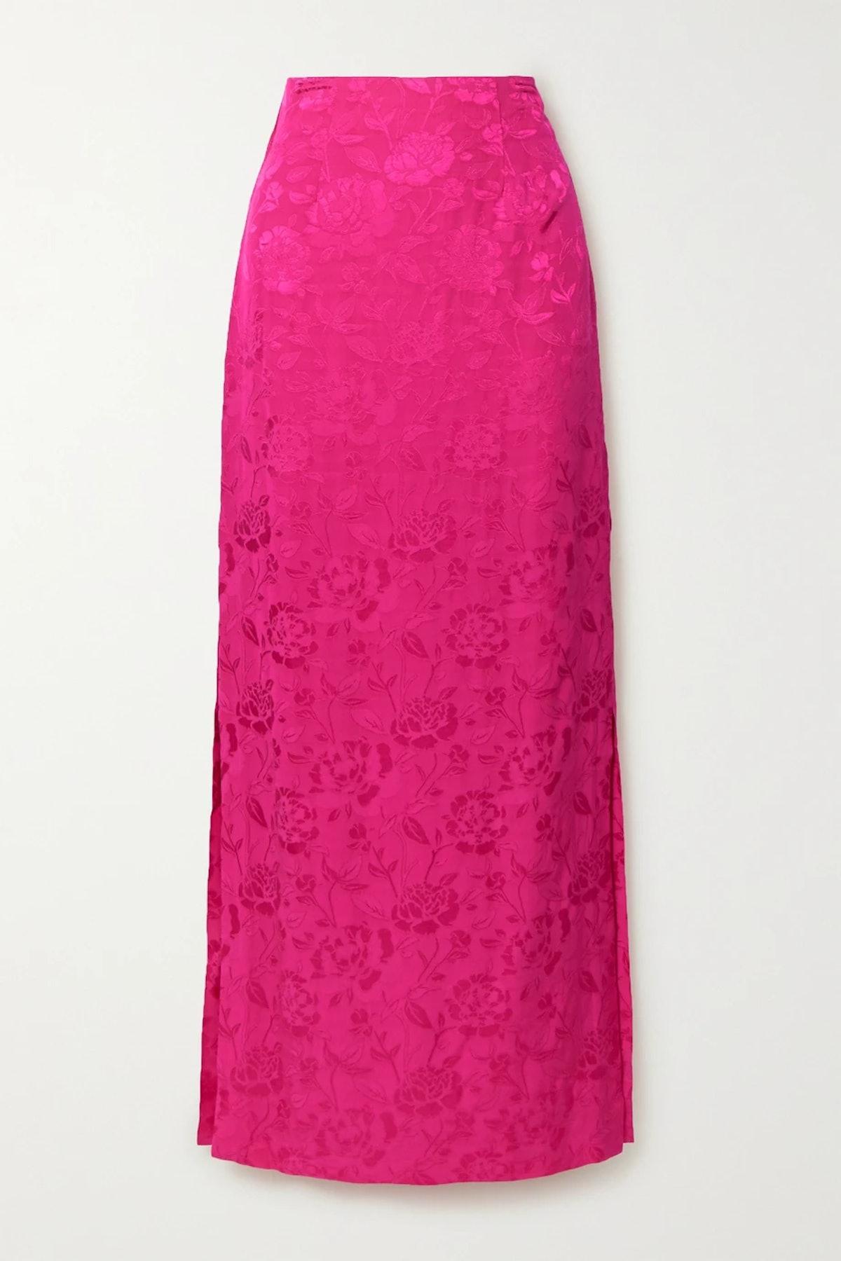 Saman Floral-Jacquard Maxi Skirt
