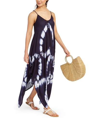 Raviya Tie-Dye Handkerchief-Hem Cover-Up Dress
