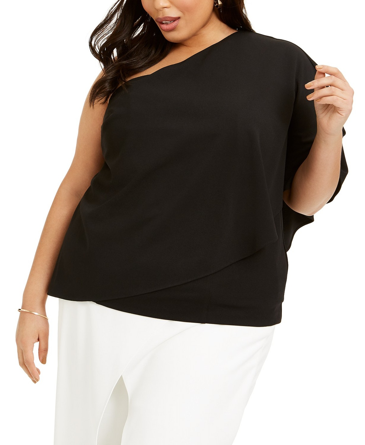Plus Size One-Shoulder Crepe Top