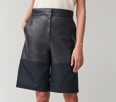 Leather Shorts With Woven Panel