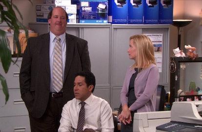 Brian Baumgartner, Oscar Nunez, Angela Kinsey as Kevin, Oscar, and Angela on 'The Office'