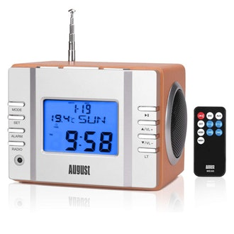 August MB300 Wooden Stereo and FM Clock Radio, with Card Reader