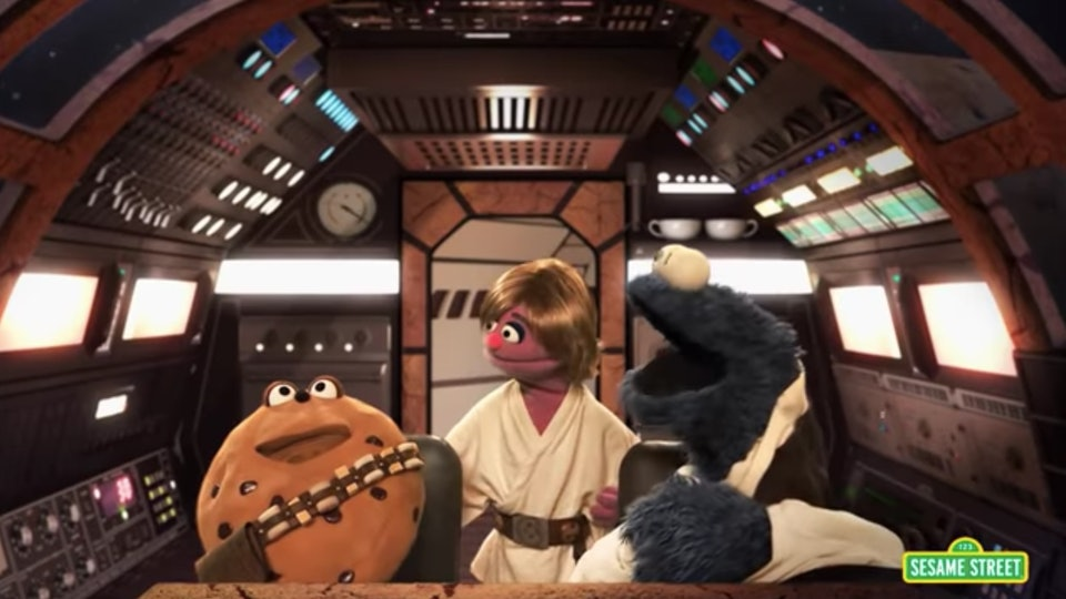 "Over the years, characters from ""Sesame Street"" have collided or parodied characters from ""Star Wars"" in at least three different episodes of the children's TV show."