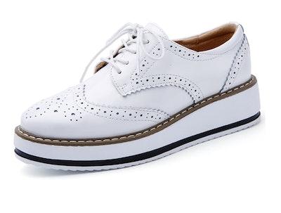 DADAWEN Women's Platform Wingtips Oxfords Shoe