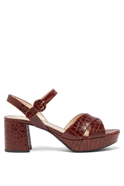 Prada Platform Crocodile-Effect Leather Sandals