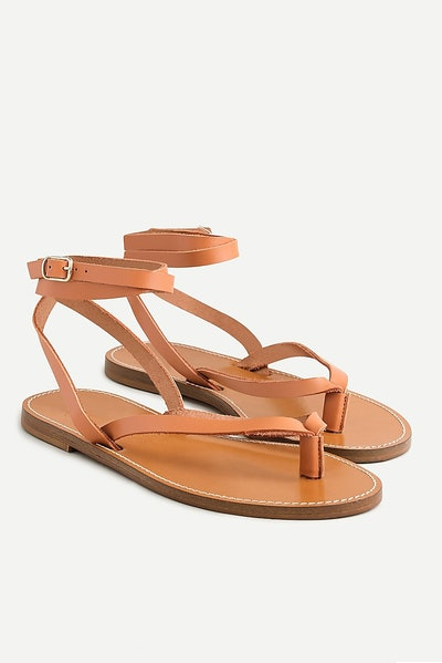J.Crew Leather Ankle-Wrap Thong Sandals