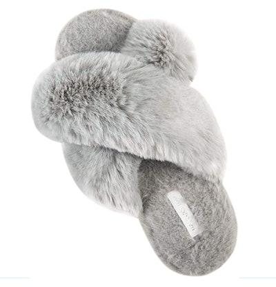 Halluci Women's Cross Band Soft Plush Fleece Slippers