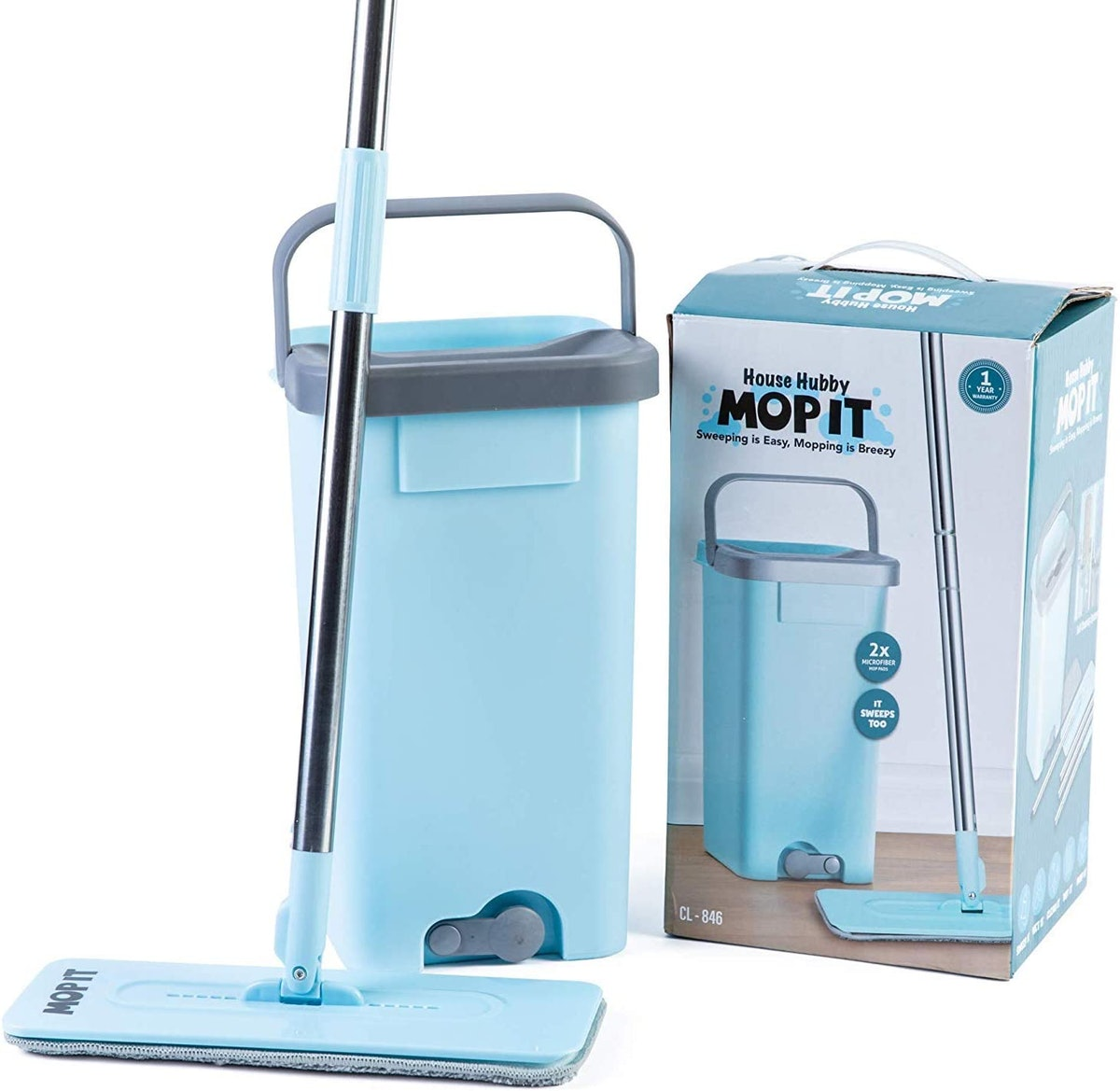 House Hubby Flat Squeeze Mop and Bucket Set