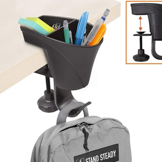 Stand Steady 3-in-1 Clamp on Desk Organizer, Pen Holder with Headset/Bag Hanger