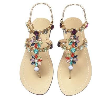 JF Shoes Women's Crystal Sandal