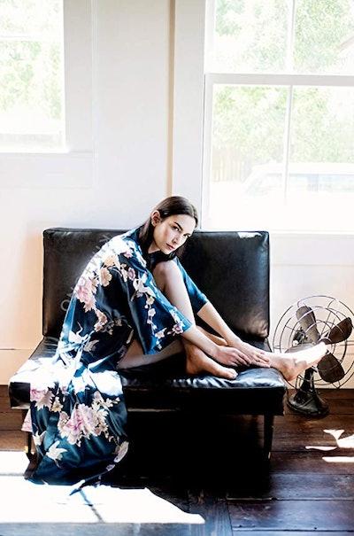 KIM+ONO Satin Long Kimono Robe