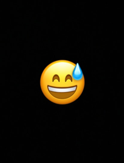 The happy sweat emoji can be used to denote exercise, as well as moments of tension, relief, or embarrassment.
