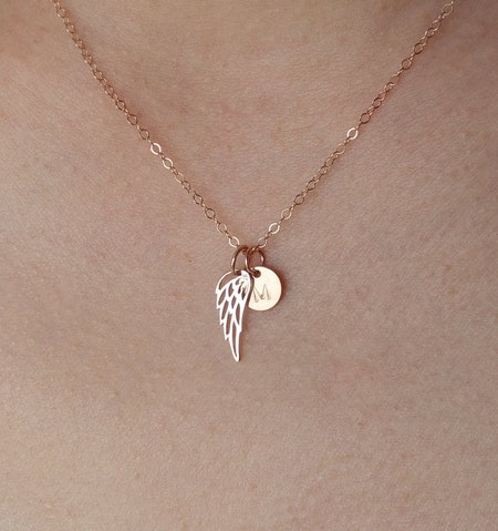 Memorial Rose Gold Angel Wing Necklace