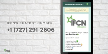 The IFCN's promotional advertising for its chatbot.