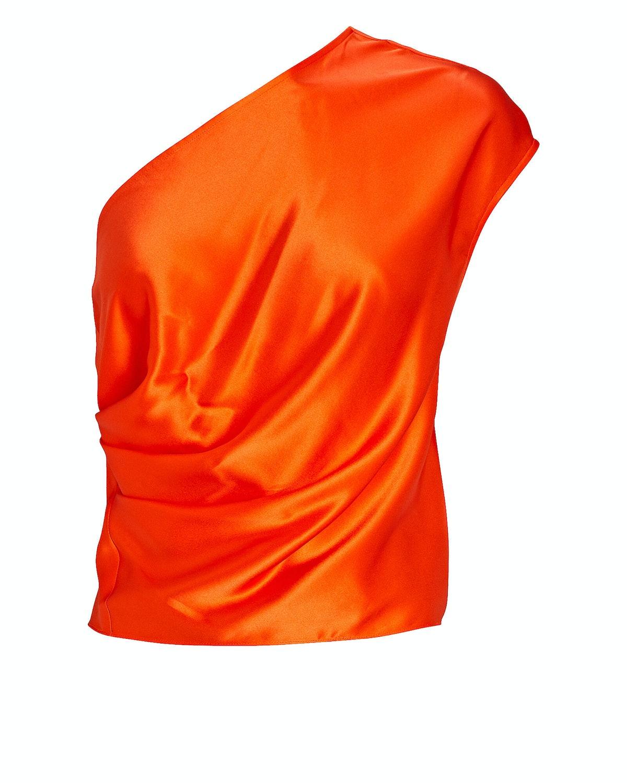 One-Shoulder Draped Silk Top